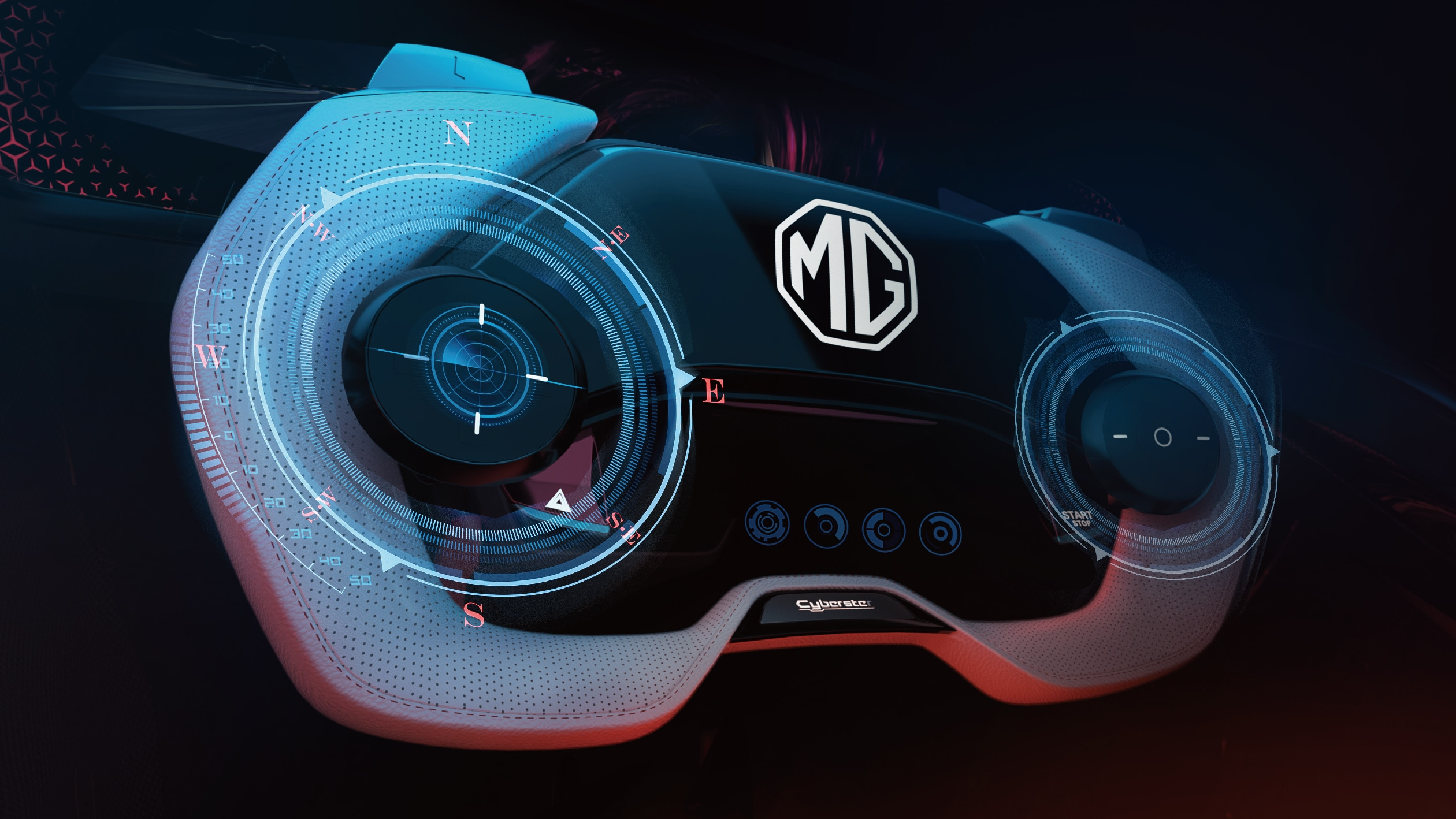 MG Cyberster gets an avant-garde shaped gamepad steering wheel with black and white contrast texture, four-dimensional button on the thumb, index finger button on top.