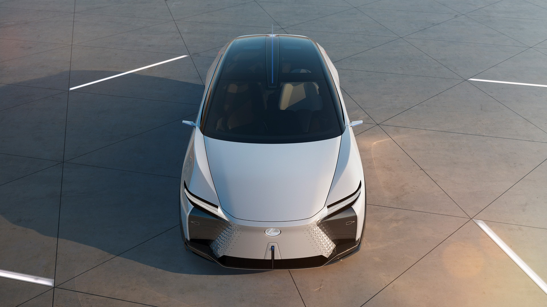 The concept car is angular and futuristic in its appearance. It is shorter than most modern Lexus vehicles still presents a kind of inversion of the company's iconic massive grille; instead of a black diamond grid pattern.