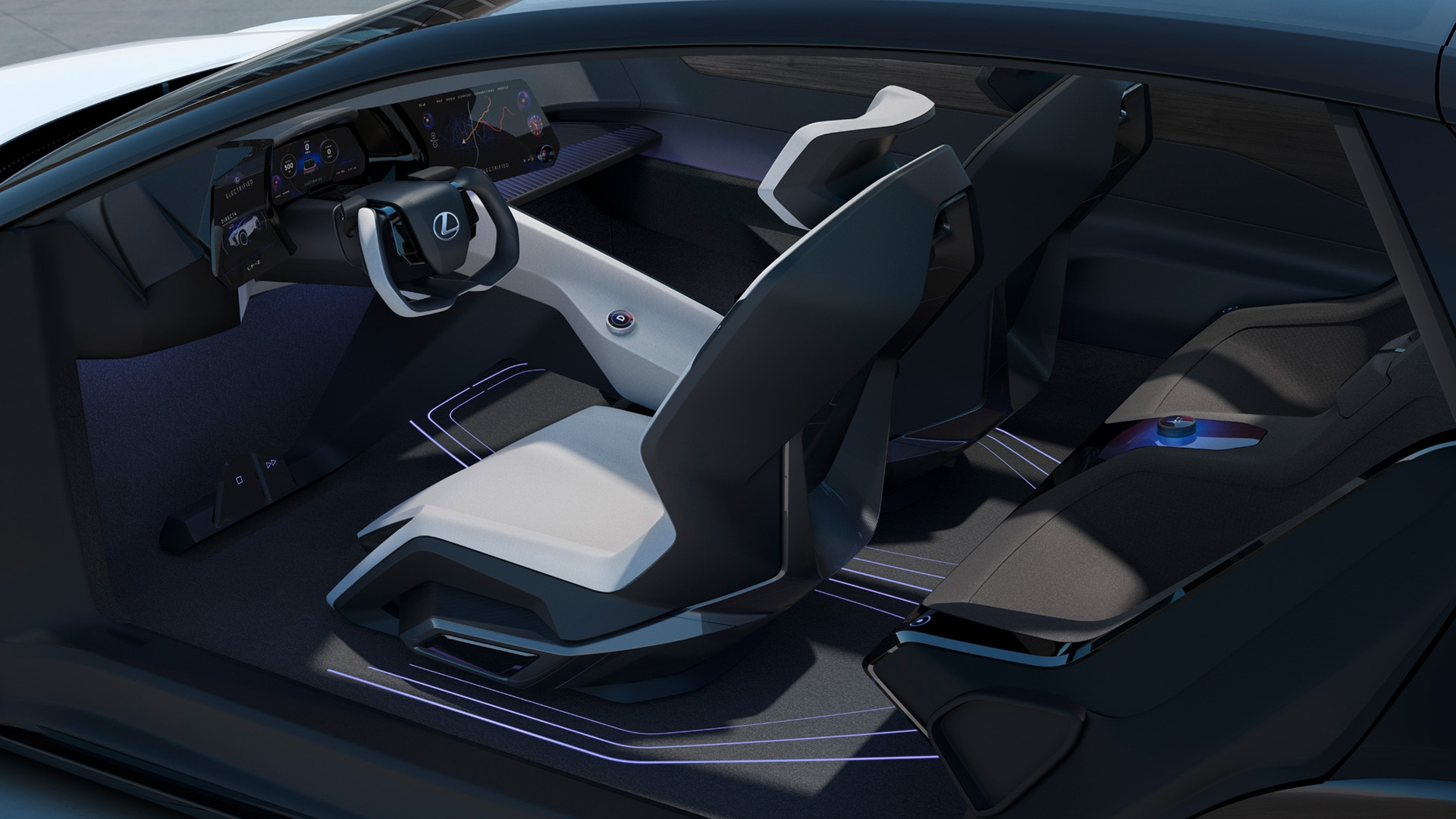 The interior is more radical and have shell seats with a distinctive geometric appearance and are surrounded by various lighting elements. On the other hand, it is quite sparse, except for the cluster of screens that hug the steering wheel.