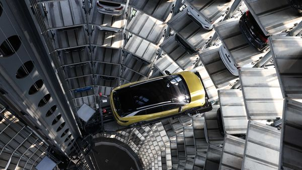 File photo of a Volkswagen ID.4 electric SUV in the Volkswagen AG (VW) Autostadt automobile delivery towers in Germany. (Bloomberg)