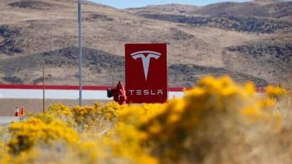 A sign marks the entrance to the Tesla Gigafactory in Sparks, Nevada (AP)