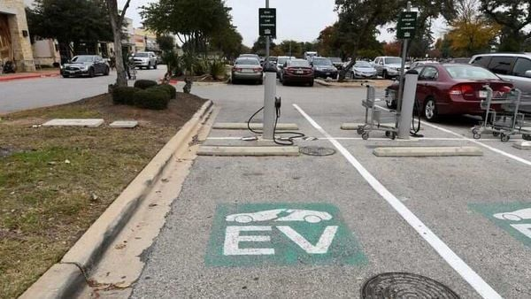 An electric vehicle (EV) fast charging station is seen in the parking lot in Texas, US. (File Photo) (REUTERS)