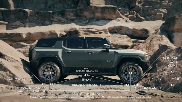 The Extract mode in the Hummer EV SUV helps lift the vehicle by about 6 inches to help difficult off-road terrain with obstacles.