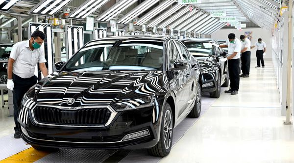 The new Skoda Octavia is seen here at the company's production facility in Aurangabad.