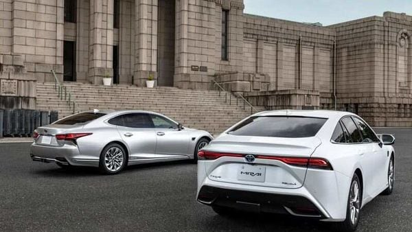 Lexus LS and Toyota Mirai cars in front of the Meiji Memorial Picture Gallery in Shinjuku, Tokyo in this undated handout photo. Toyota/Handout via REUTERS (via REUTERS)