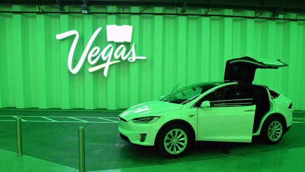 A Tesla Model X is parked in the Central Station during a media preview of the Las Vegas Convention Center Loop. (AFP)