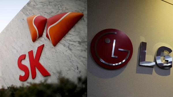 Logos of SK Innovation (L) and LG.