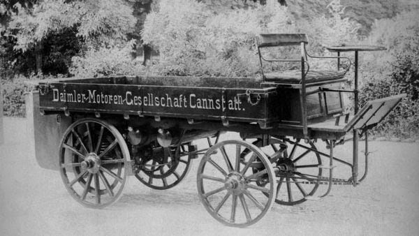 The very first cargo truck by Daimler was powered by a 1.06 litre two-cylinder engine.