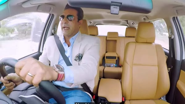 Screengrab from the Toyota video showing Wasim Akram at the wheels of a Fortuner SUV on an off-road track. (Photo courtesy: YouTube)