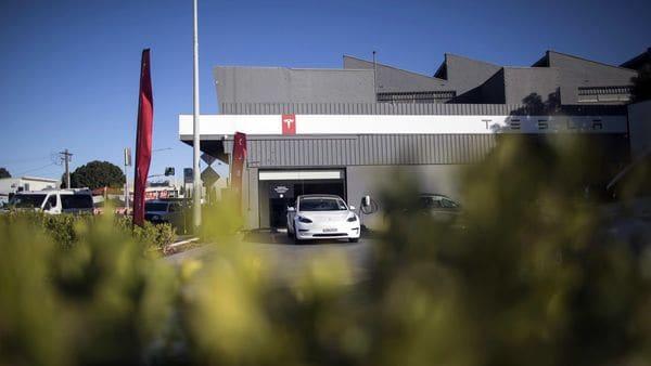 A Tesla temporary test drive center in Sydney, Australia. (Bloomberg)