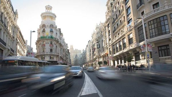 File photo of a busy traffic intersection in the Spanish capital city of Madrid.