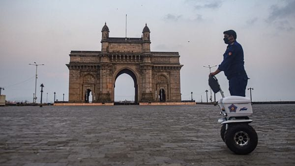 A view of the deserted Gateway of India before the start of 15 days curfew amid surge in Covid-19 cases in Mumbai. (PTI)