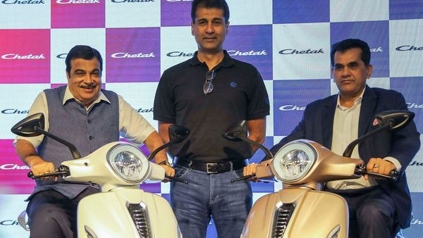 File photo: Union Road Transport and Highway Minister Nitin Gadkari, Managing Director of Bajaj Auto Rajiv Bajaj, and NITI Aayog CEO Amitabh Kant unveil the all-new Bajaj Chetak Electric Vehicle, in New Delhi. (PTI)