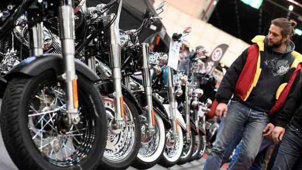 Harley-Davidson bikes are lined up at a bike fair in Germany. (Representational File Photo) (REUTERS)