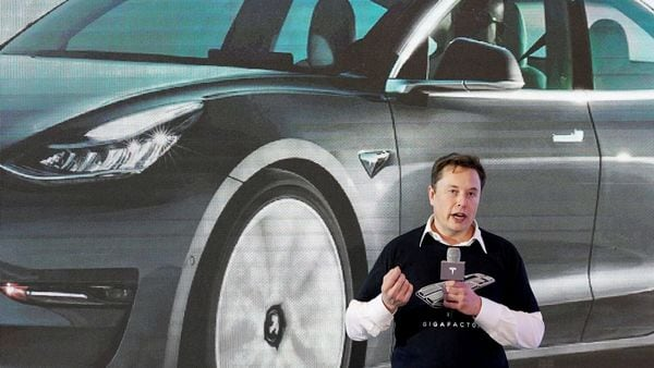 Tesla Inc CEO Elon Musk speaks during an event for Tesla China-made Model 3 cars. (File Photo) (REUTERS)