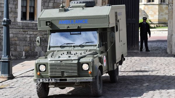 A British Army Land Rover ambulance is driven away from Windsor Castle in Windsor, west of London, on April 15, 2021, after a rehearsal for the funeral of Britain's Prince Philip, Duke of Edinburgh. (AFP)