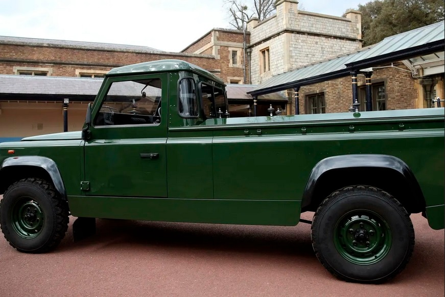 Among Prince Philip's wishes was the use of this specially designed 4X4 Land Rover to drive his casket from the castle to St George's Chapel, a few hundred yards away.
