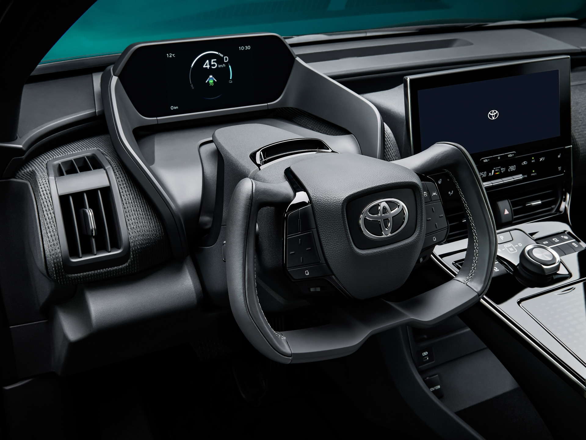 The most eye-catching element inside the cabin is the sporty steering wheel. Instead of a conventional round shaped wheel, it gets a controller that takes inspiration from Formula One cars and looks like straight out of video games.
