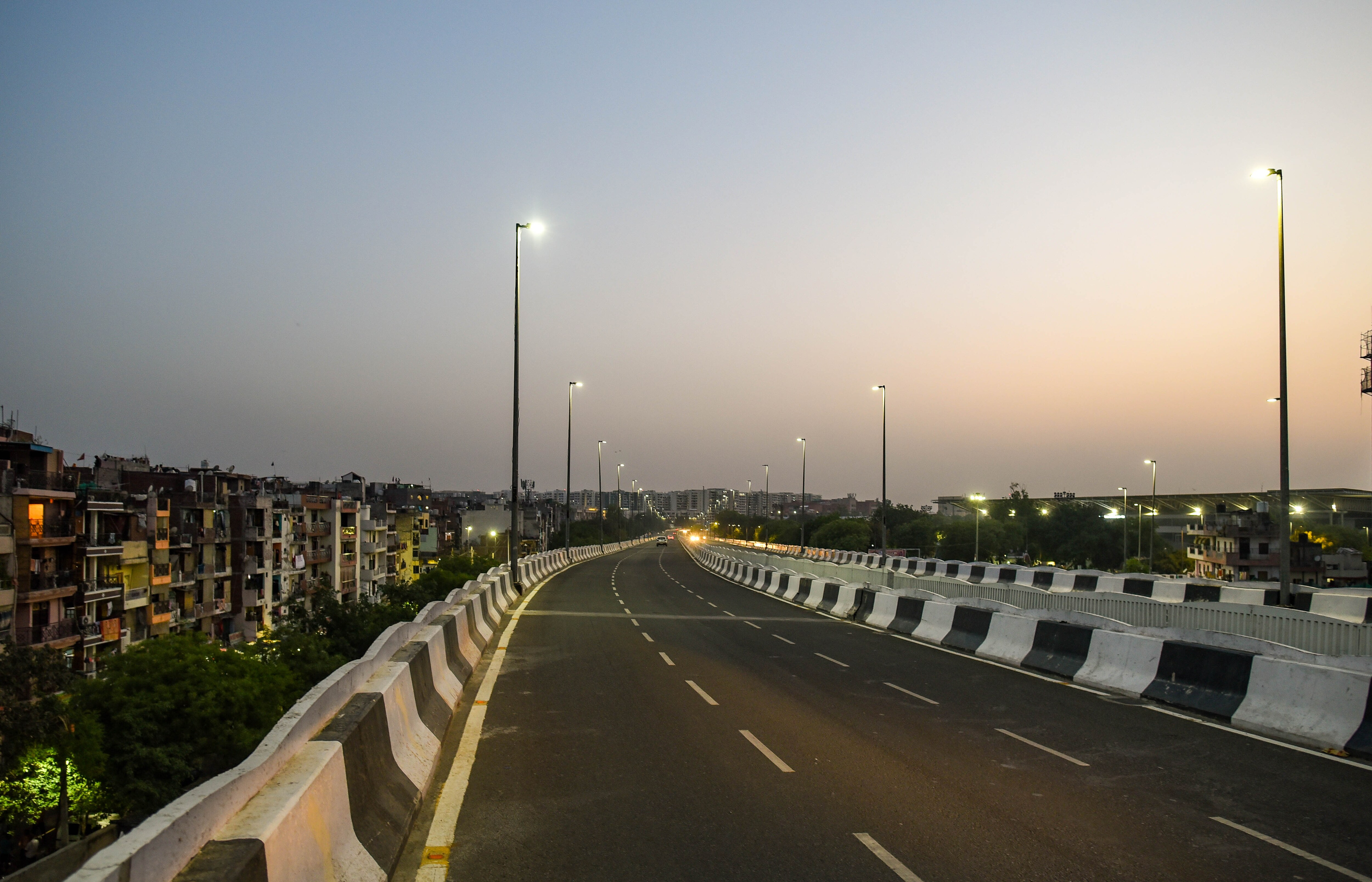 A view of an empty road in Delhi during a weekend curfew.