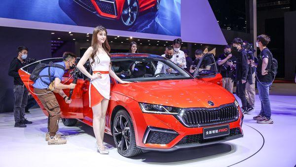 Skoda showcases Octavia Pro at the Shanghai Auto Show.