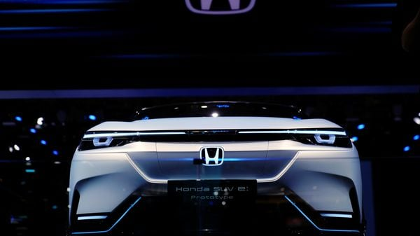 A Honda SUV e:Prototype electric vehicle is seen displayed during the Shanghai Auto Show. (REUTERS)