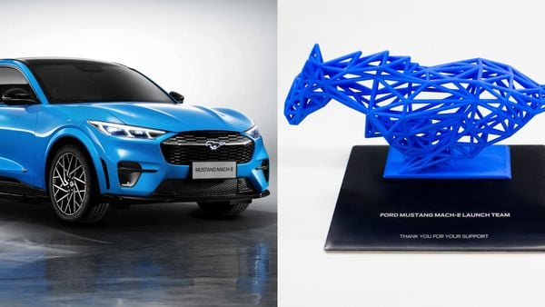 Ford Mustang Mach-E (L) and the wireframe pony gift (R)