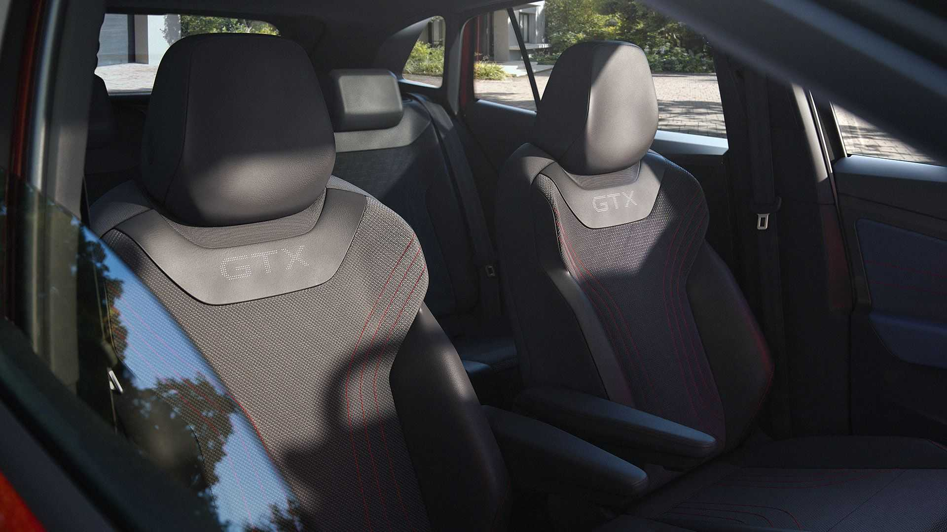 The sporty seats get a comfortable posture, individual arm rests and GTX badging along with the contrast stitching.
