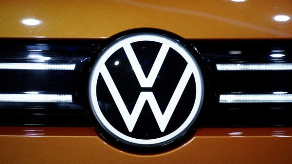 A Volkswagen logo is seen on ID.6 and ID.6 CROZZ SUV at the Shanghai Auto Show. (File Photo) (REUTERS)