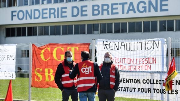 Workers led by the CGT union demonstrate against a plan by Renault to sell the Fonderie de Bretagne in Caudan. (File photo) (AFP)