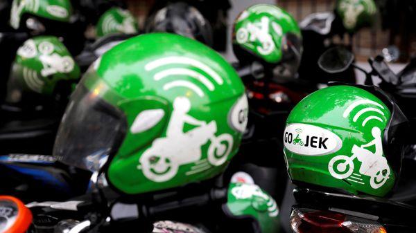Gojek driver helmets in Jakarta. (File photo) (Reuters)