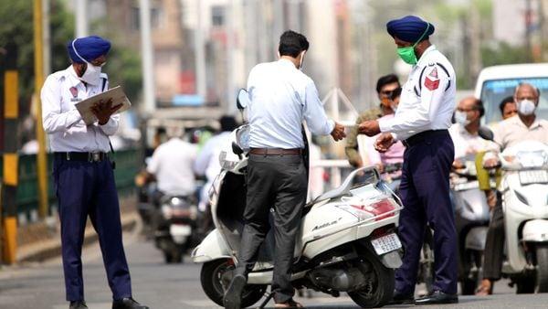 Traffic police at work in Punjab.