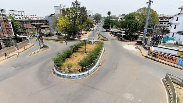 A view of the deserted road as the Uttar Pradesh government extended lockdown in the state, amid a countrywide spike in coronavirus case, in Prayagraj on Tuesday. (ANI Photo)
