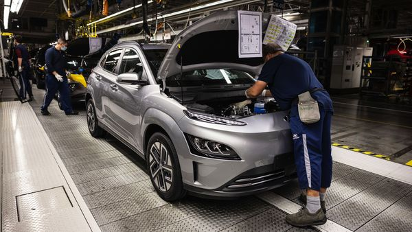 File photo of a Kona electric SUV on the final assembly line at a Hyundai Motor plant. (Bloomberg)