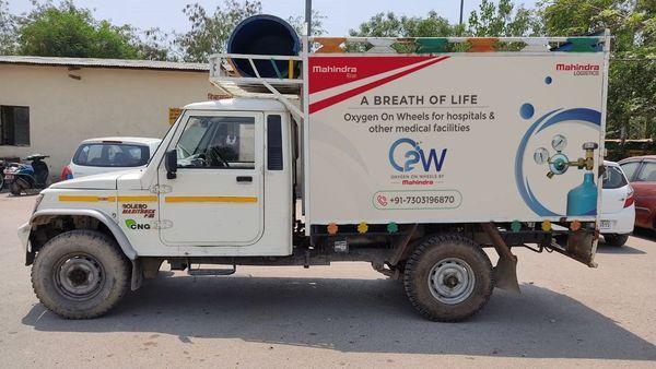 A Mahindra Bolero pickup truck decked up as Oxygen on Wheels. (Photo courtesy: Twitter/@anandmahindra)