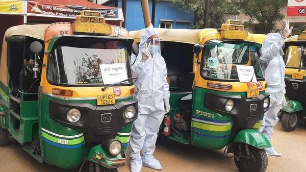 Auto ambulances inaugurated in Noida. (Image: Noida Traffic Police)