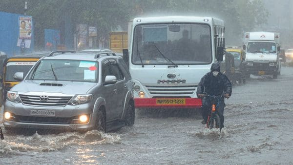 A scene from a road in Andheri where water-logging resulted in traffic coming to a crawl.