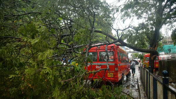 Cyclone Tauktae wreaked havoc in Mumbai on Monday. A BEST bus was damaged after a tree fell on it at BEST bus depot in Andheri East.
