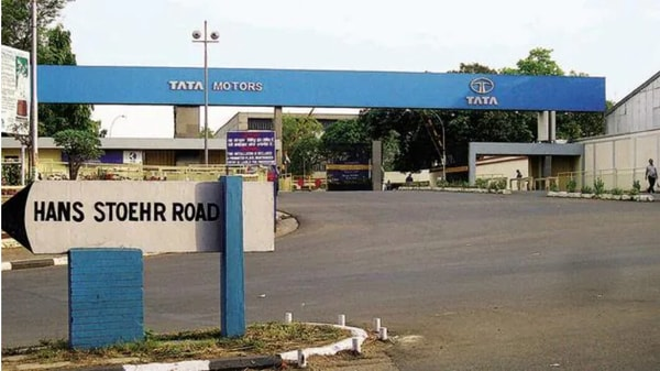 View of entrance gate of Tata Motors plant in Jamshedpur. (HT photo)