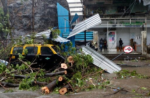 A damaged taxi is seen here after a tree fell on it.