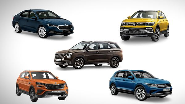 Hyundai Alcazar (centre) along with Skoda Octavia and Kushaq and Volkswagen Tiguan and Taigun SUVs are primed for launches in India soon.