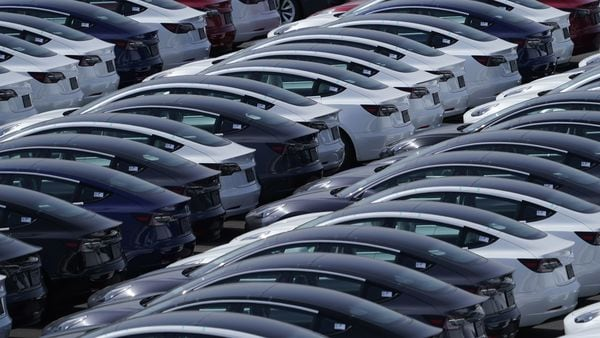 File photo used for representational purpose. Note that these are Tesla vehicles at a port in Japan, and not at the company facility in California. (Bloomberg)