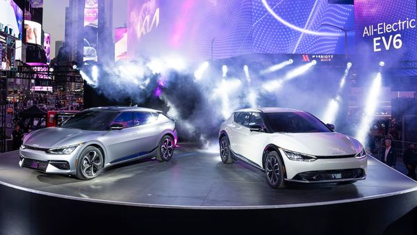 US debut of the new Kia logo, global brand strategy and all-electric 2022 EV6 during a Times Square billboard takeover event on May 18.