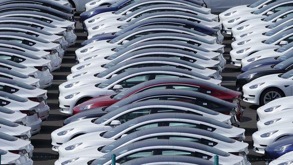 File photo of Tesla vehicles. (Bloomberg)