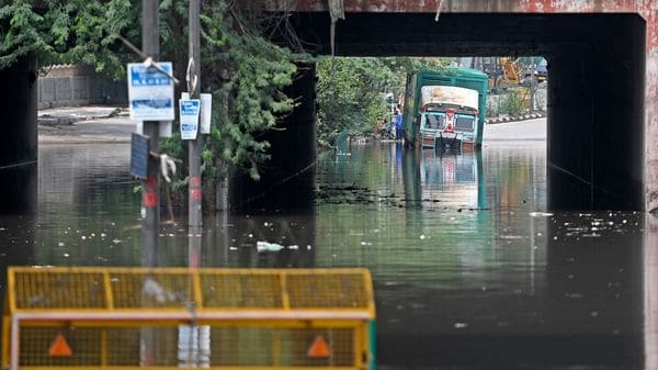A truck is seen stuck inside a waterlogged street after it rained in New Delhi. (Representational image) (AFP)