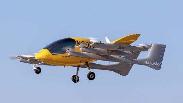 Photo of a Wisk Aero flying taxi in action.