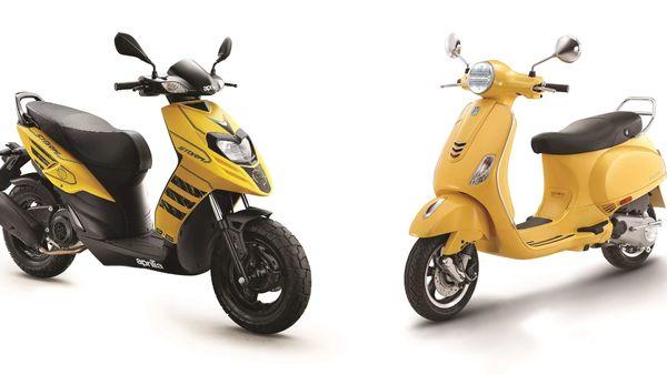 Representational image of Aprilia Storm (left) and Vespa VXL facelift.