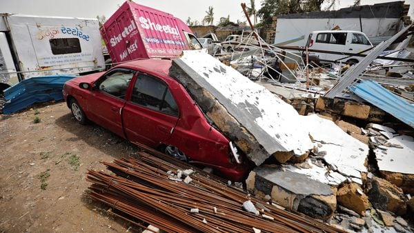 Damaged vehicles are seen here after Cyclone Tauktae created havoc in several western states in India. (MINT_PRINT)