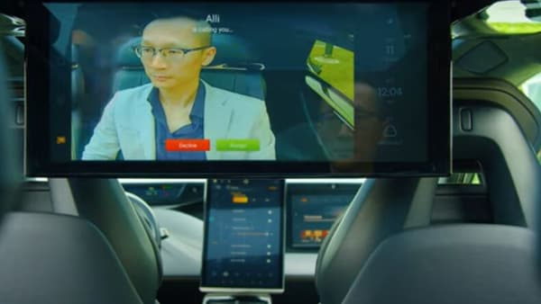 The screen inside FF 91 will operate on voice command and will enable the backseat passengers to have video conferences on the go. (Faraday Future)