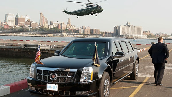 File photo of the presidential limousine that is the land transport option of choice for US Presidents.