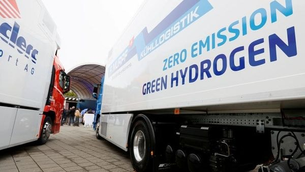 A new hydrogen fuel cell truck by Hyundai parked in Luzern, Switzerland. (File photo) (Reuters)